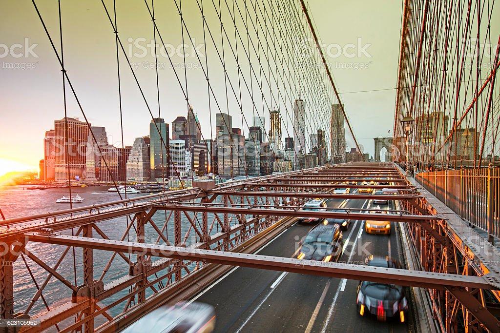 Brooklyn bridge with manhattan skyline, New York stock photo