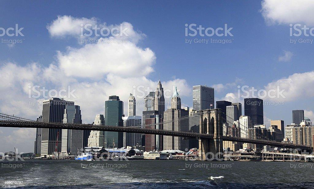 Brooklyn Bridge with New York City royalty-free stock photo