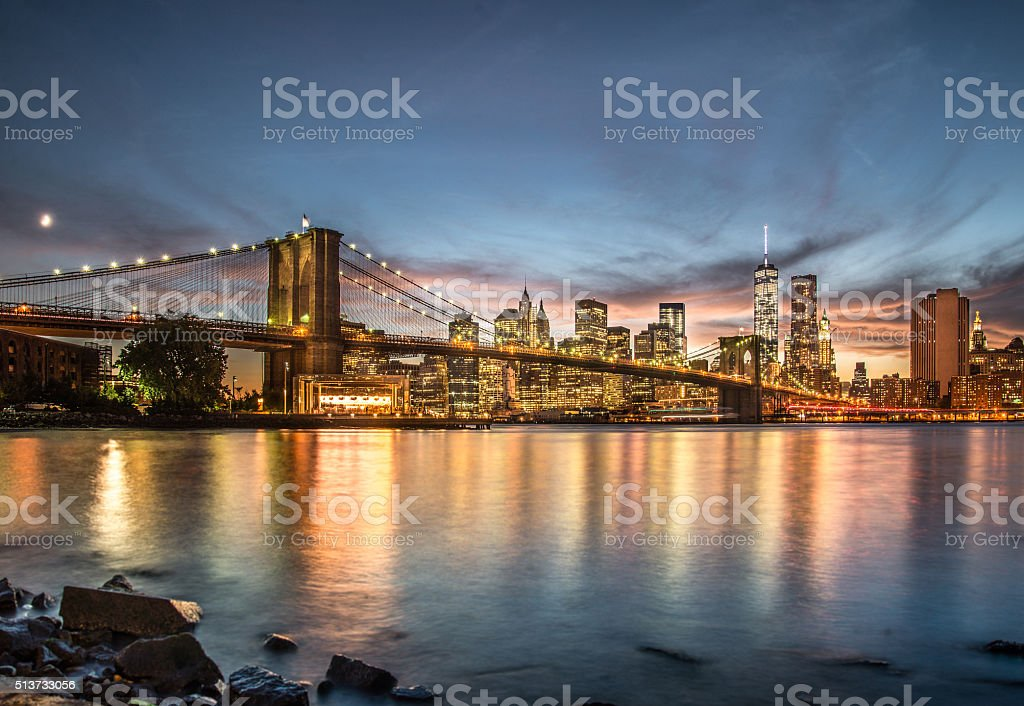 Brooklyn Bridge with sunset from Brooklyn Bridge park stock photo