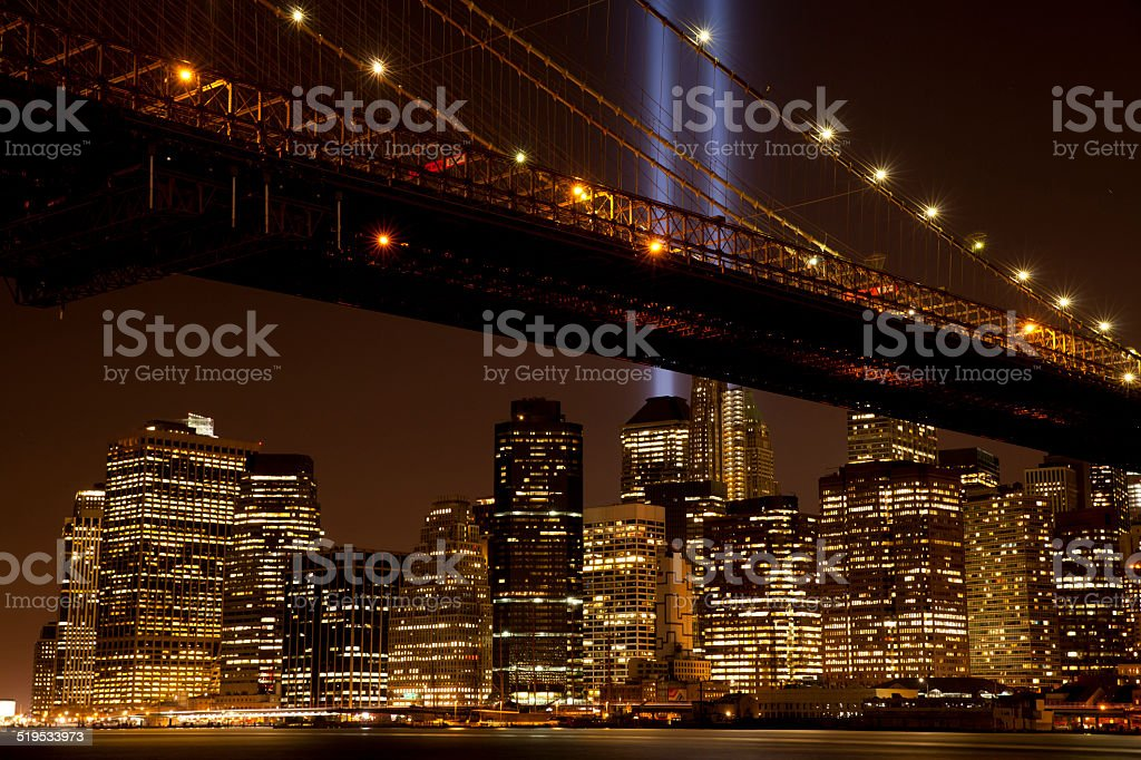 Brooklyn Bridge with The Tribute in Light stock photo