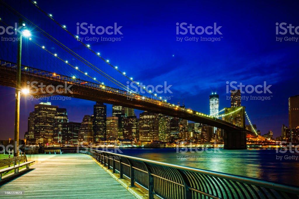 Brooklyn bridge with view on Downtown Manhattan, New York royalty-free stock photo