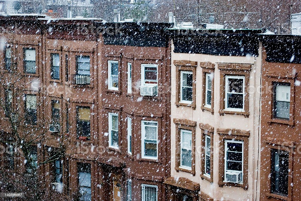 Brooklyn Brownstones in the Snow royalty-free stock photo