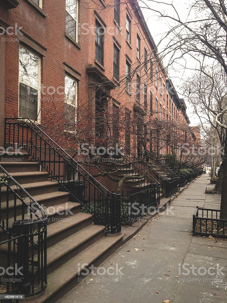 Brooklyn brownstones - residential district stock photo