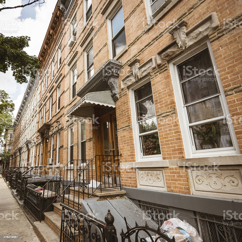 Brooklyn brownstones - residential district royalty-free stock photo