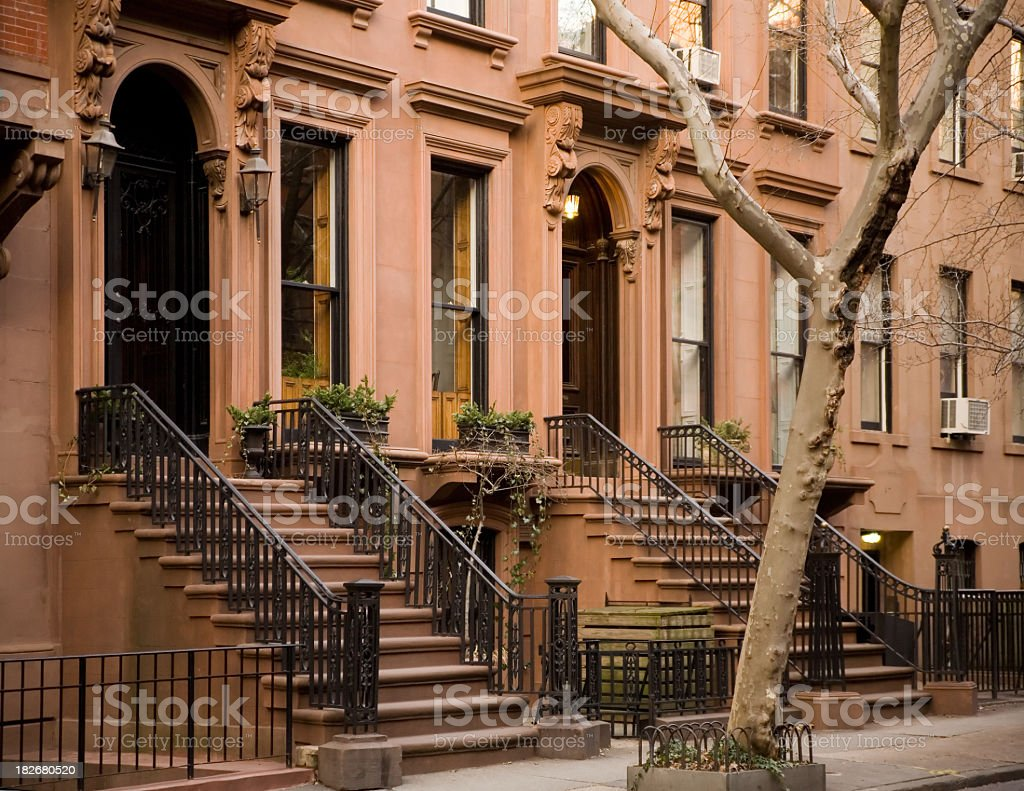 Brooklyn brownstones with lone tree stock photo