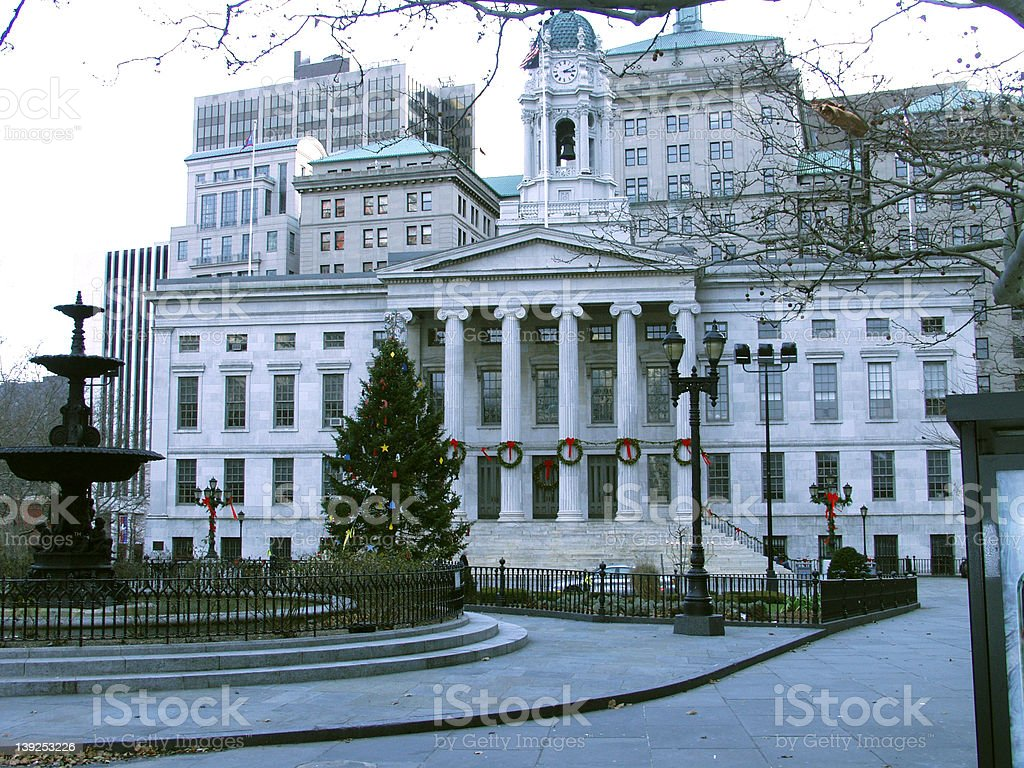 Brooklyn courthouse and park royalty-free stock photo