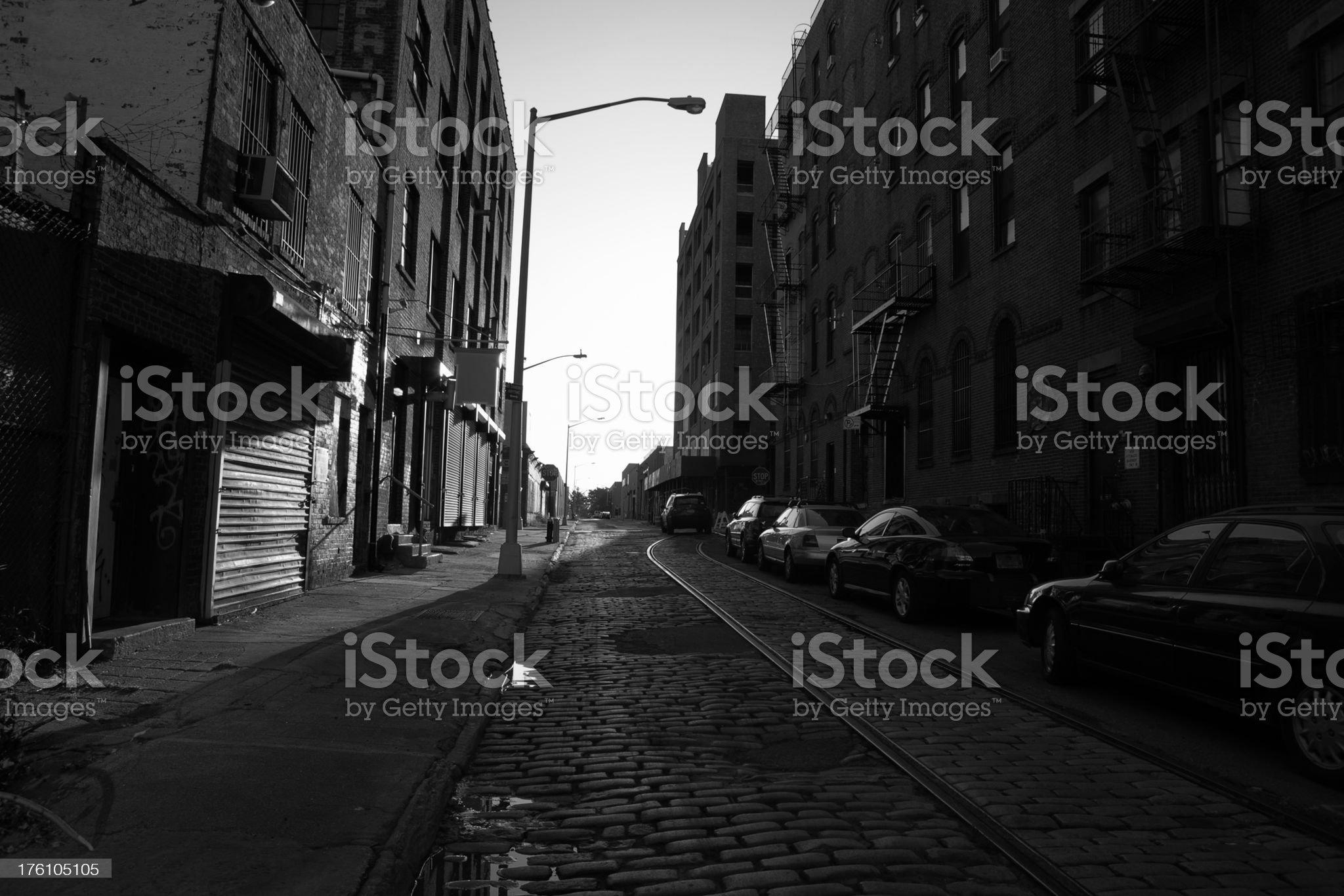 Brooklyn DUMBO Backstreet Sunrise royalty-free stock photo