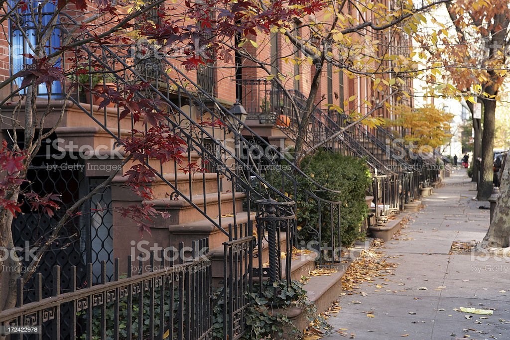 Brooklyn New York Brownstone Townhouses Street royalty-free stock photo