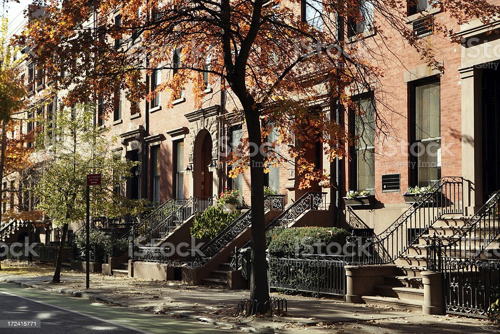 Brooklyn New York Townhouses and Brownstone Historic Buildings stock photo
