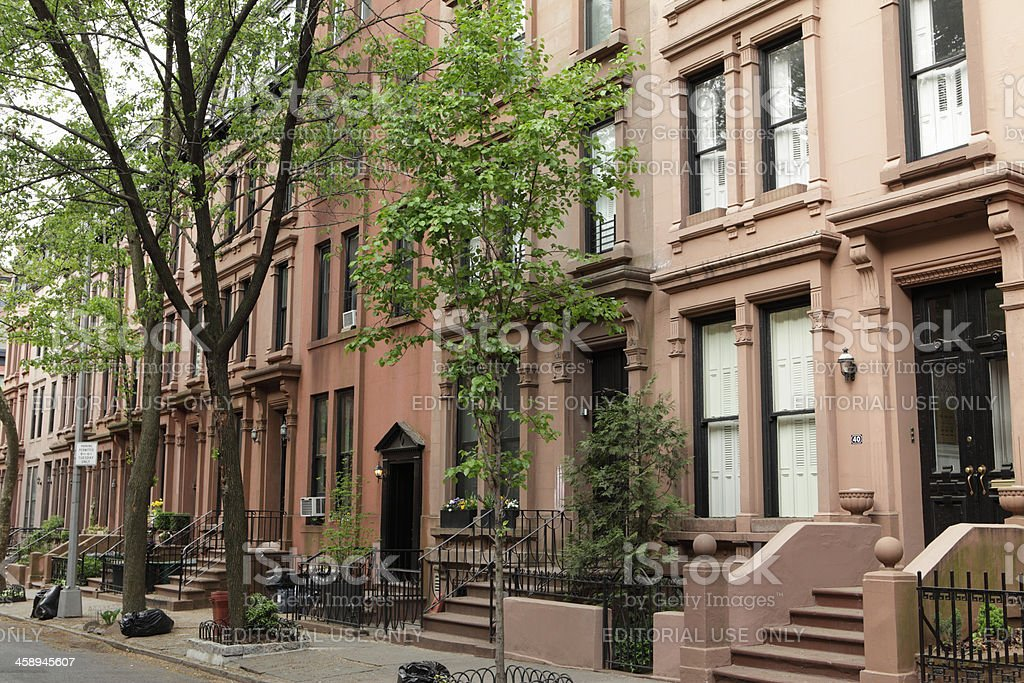 Brooklyn New York Townhouses and Brownstone Historic Buildings royalty-free stock photo