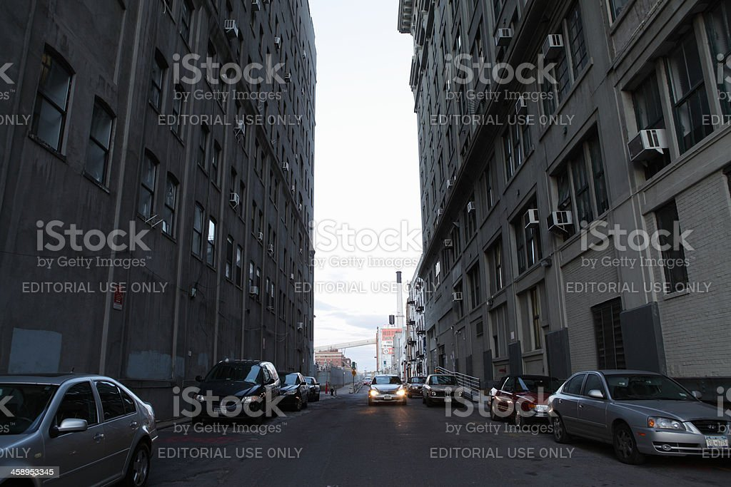 DUMBO Brooklyn NYC at dusk street view stock photo