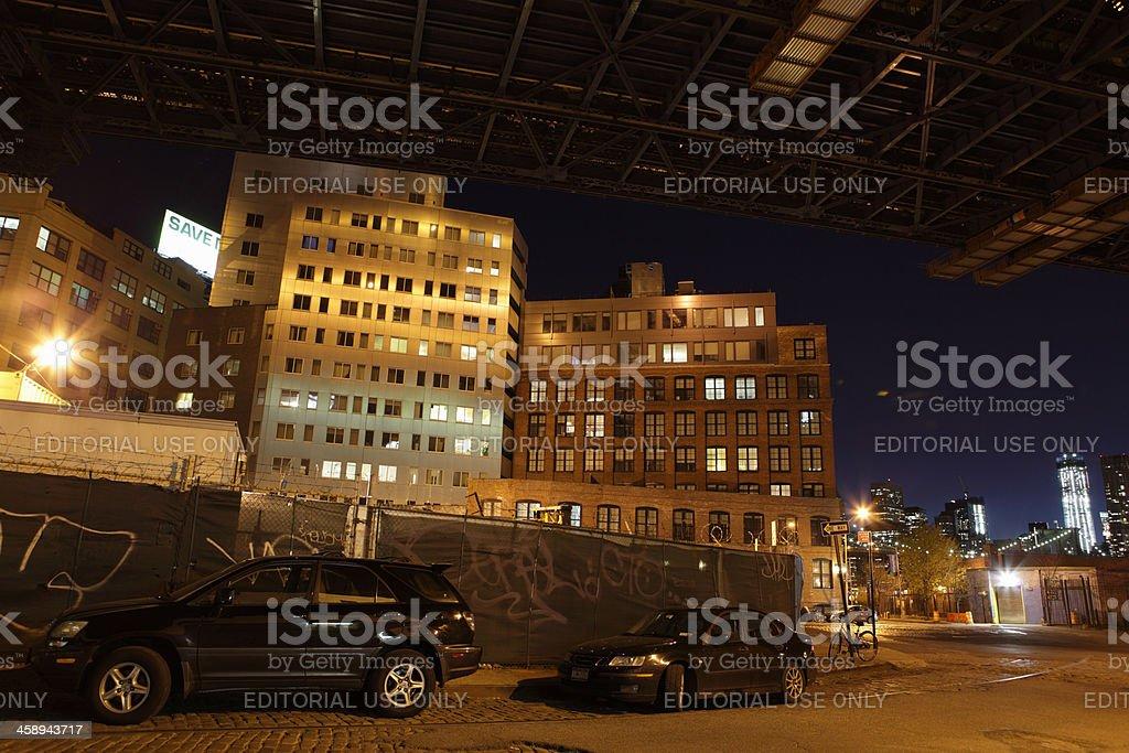 DUMBO Brooklyn NYC at night street view royalty-free stock photo