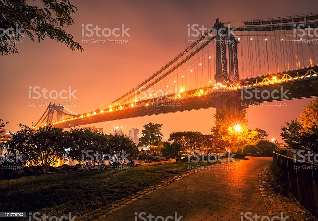 Brooklyn park and Manhattan bridge by night royalty-free stock photo