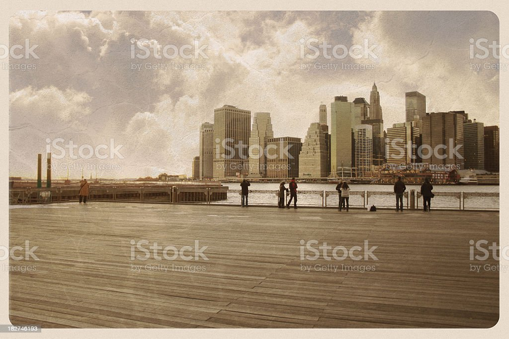Brooklyn Pier Postcard - Grunge royalty-free stock photo