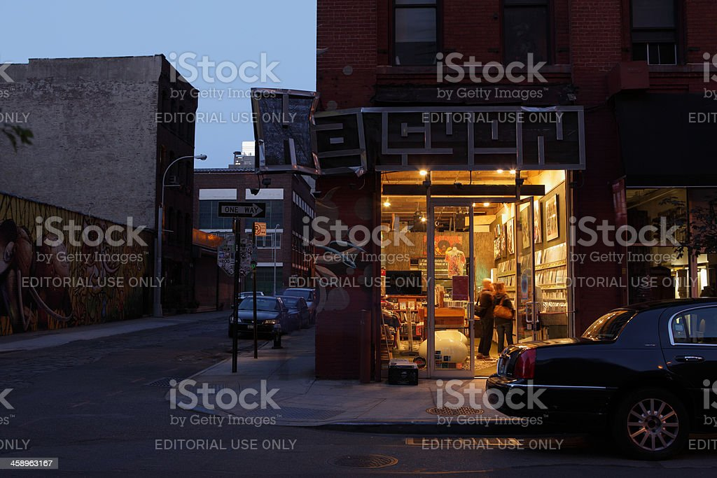 DUMBO Brooklyn record shop illuminated night royalty-free stock photo