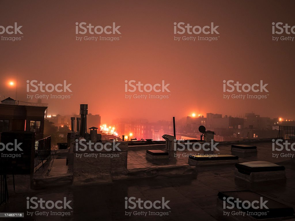 Brooklyn skyline from roof by night royalty-free stock photo