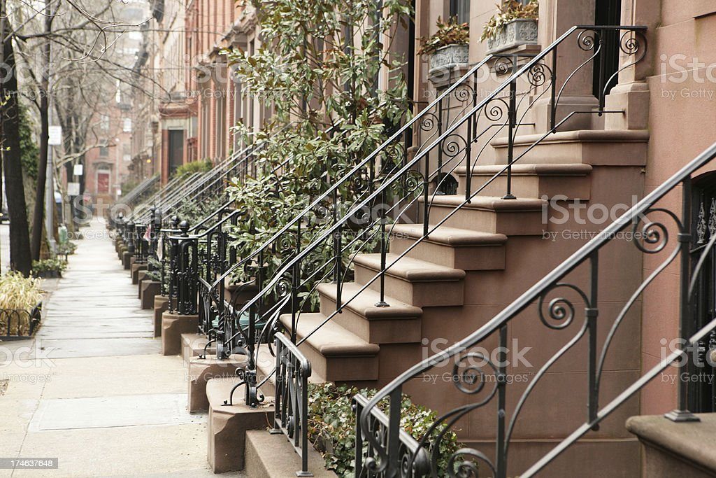 Brooklyn Street Historic Brownstone Houses and Stoops royalty-free stock photo