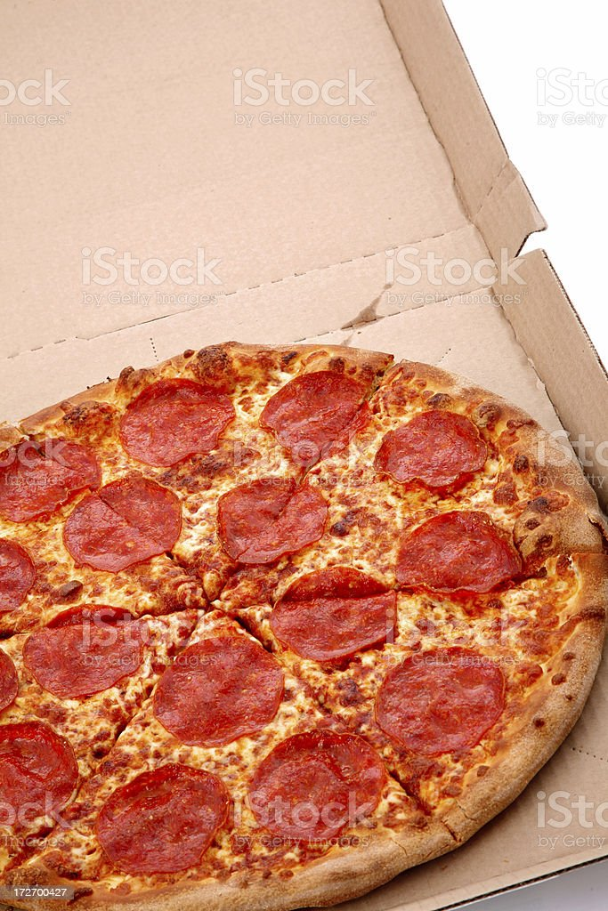 Brooklyn Style Pizza in Box royalty-free stock photo