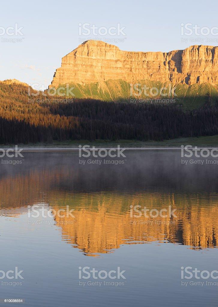 Brooks Lake Breccia Cliffs Mountain Range Shoshone National Fore stock photo