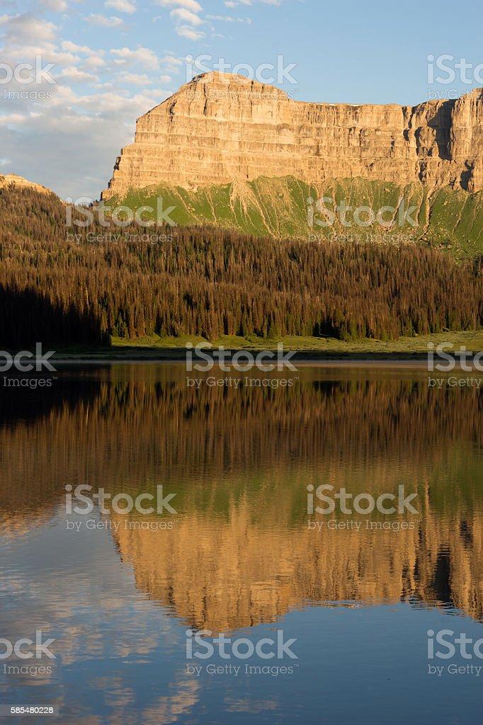 Brooks Lake Breccia Cliffs Mountain Range Shoshone National Forest stock photo