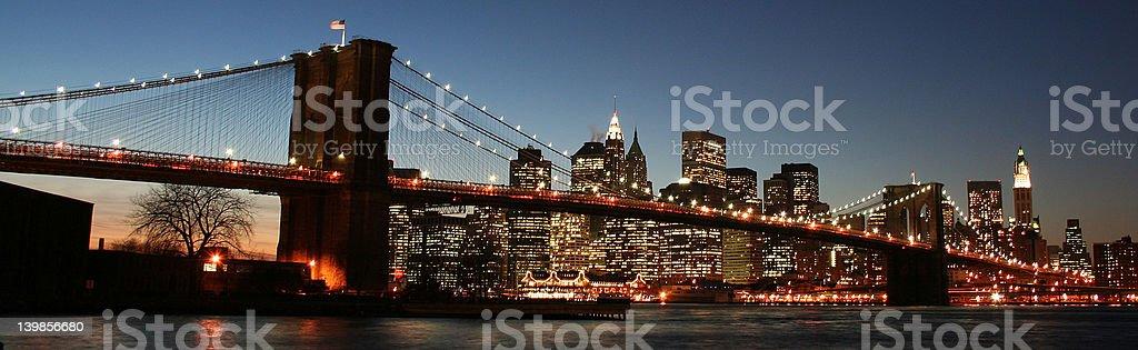 Brookyln Bridge with view of Manhattan, New York City royalty-free stock photo