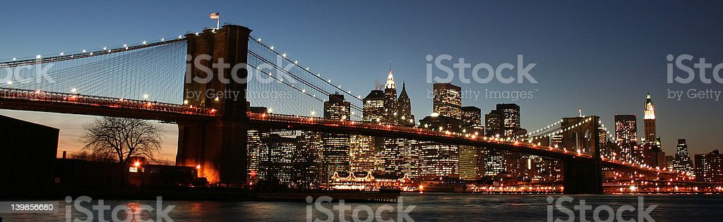 Brookyln Bridge with view of Manhattan, New York City stock photo