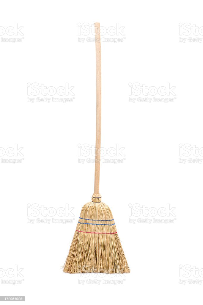 Broom isolated on white. stock photo