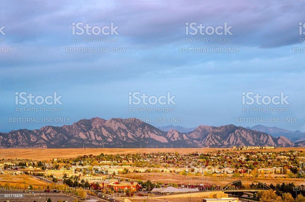 Broomfield, Colorado and the Flatiron Mountain Range stock photo
