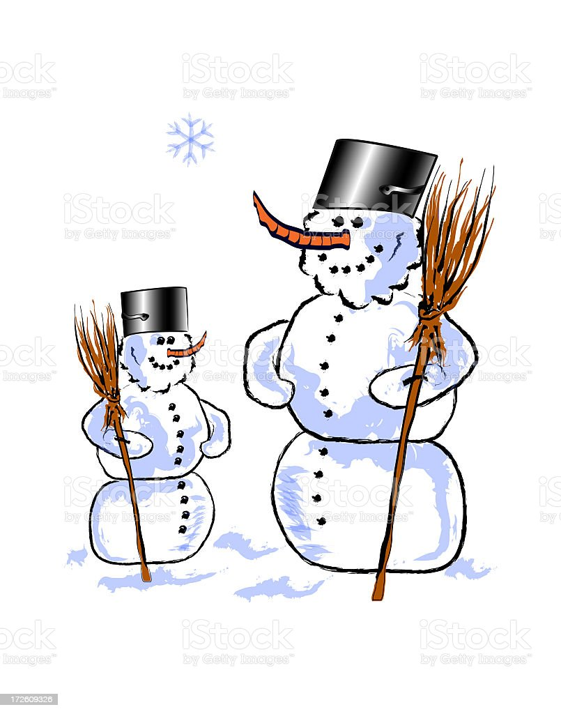 Brooms and Snowmen royalty-free stock photo