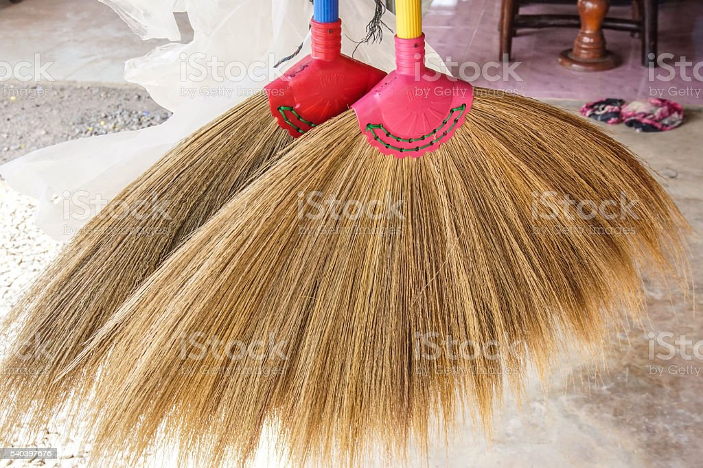 Brooms for sale in market. stock photo