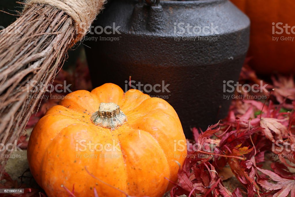 Broomstick with small pumpkin and cauldron in red leaves stock photo