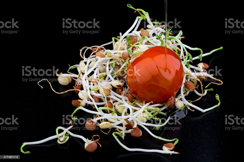 Brotes de lenteja con tomate cherry stock photo