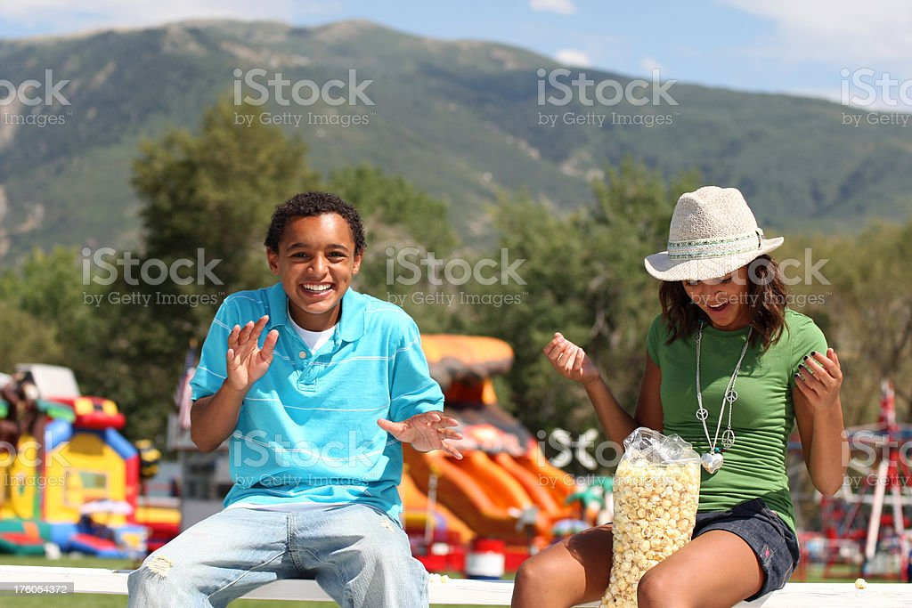 Brother and Sister at the carnival stock photo