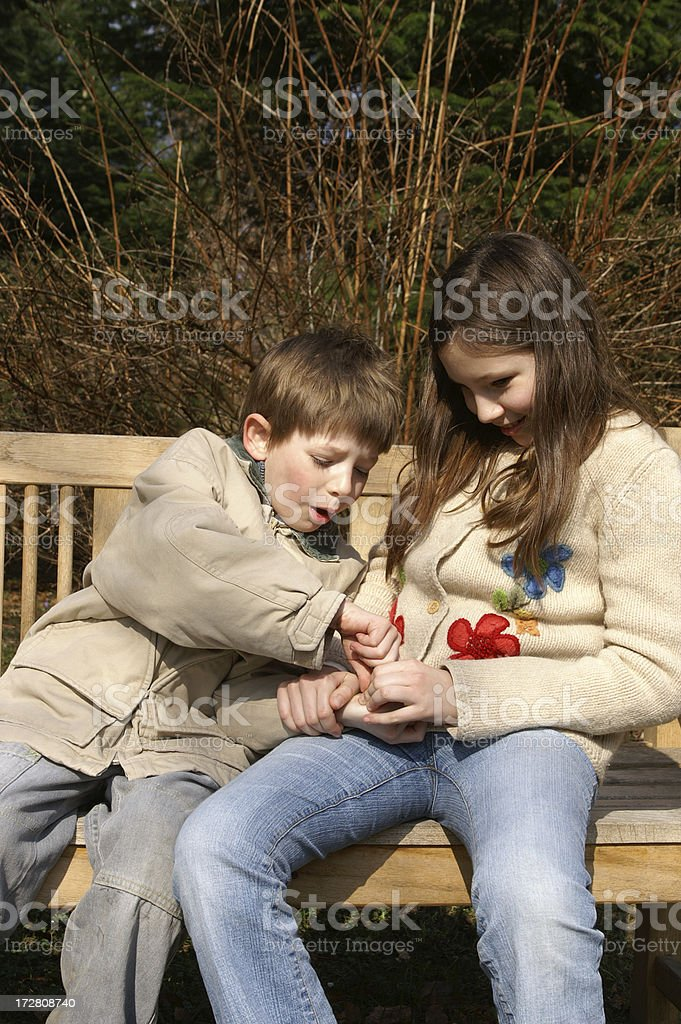 Brother and sister fight royalty-free stock photo