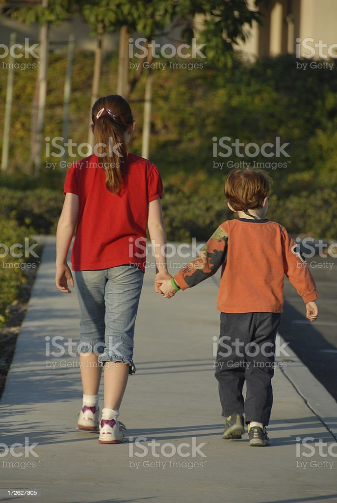 Brother and Sister & Happy Family Walking, Redhead Siblings Holding Hands royalty-free stock photo