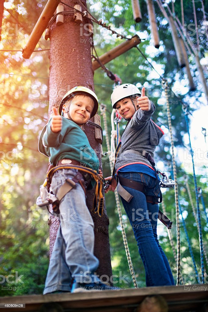 Brother and sister having fun in ropes course adventure park stock photo