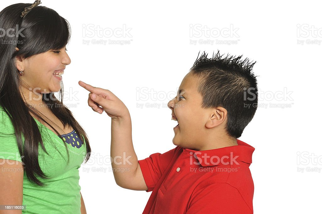Brother and sister having fun stock photo