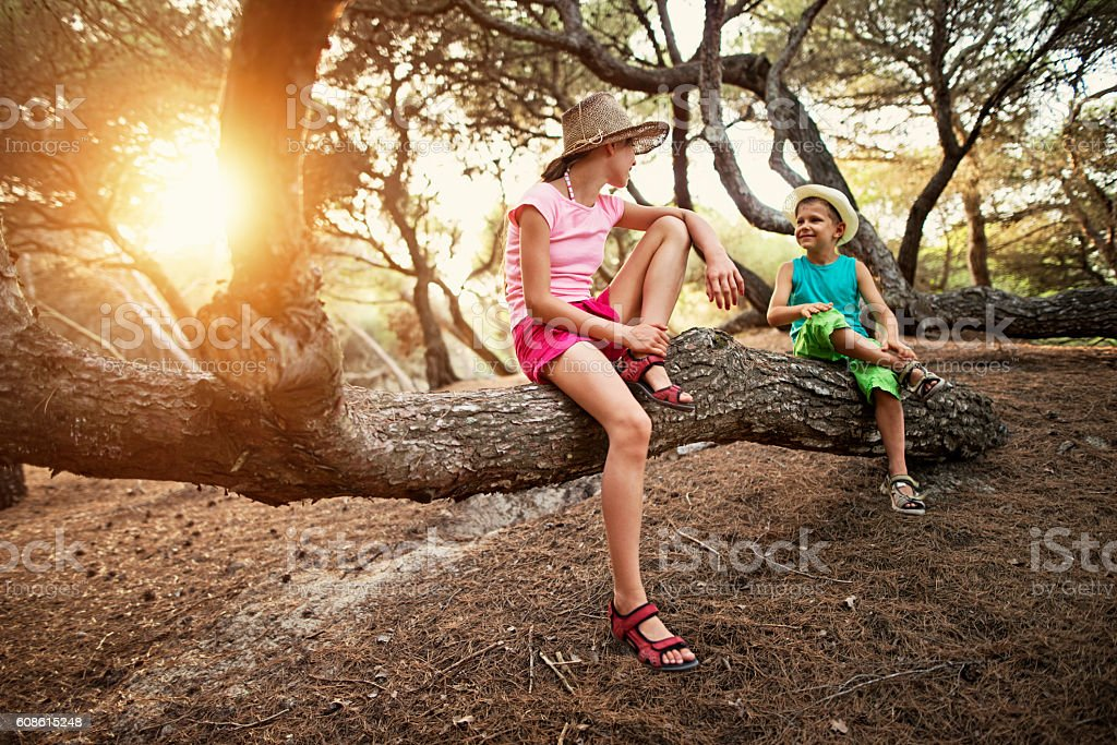Brother and sister hiking in majorca pine forest stock photo