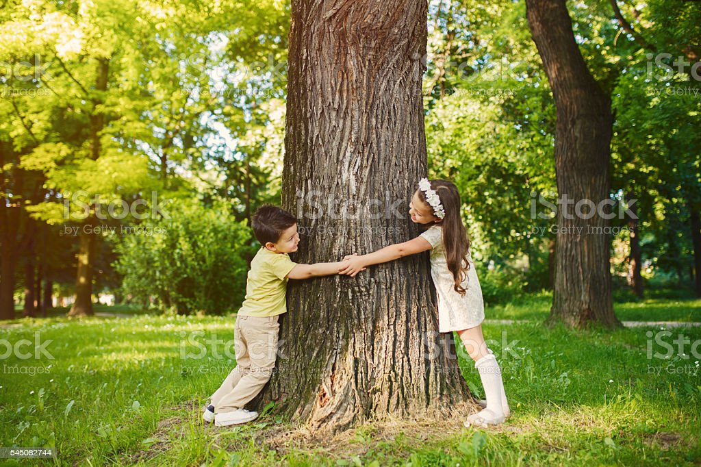 Brother and sister holding hands and hugging tree. stock photo