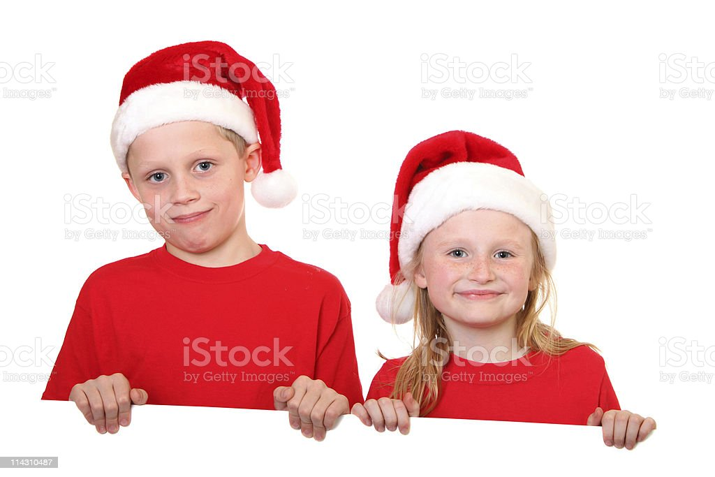 brother and sister holding sign stock photo