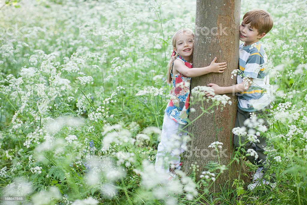 Brother and sister hugging tree stock photo