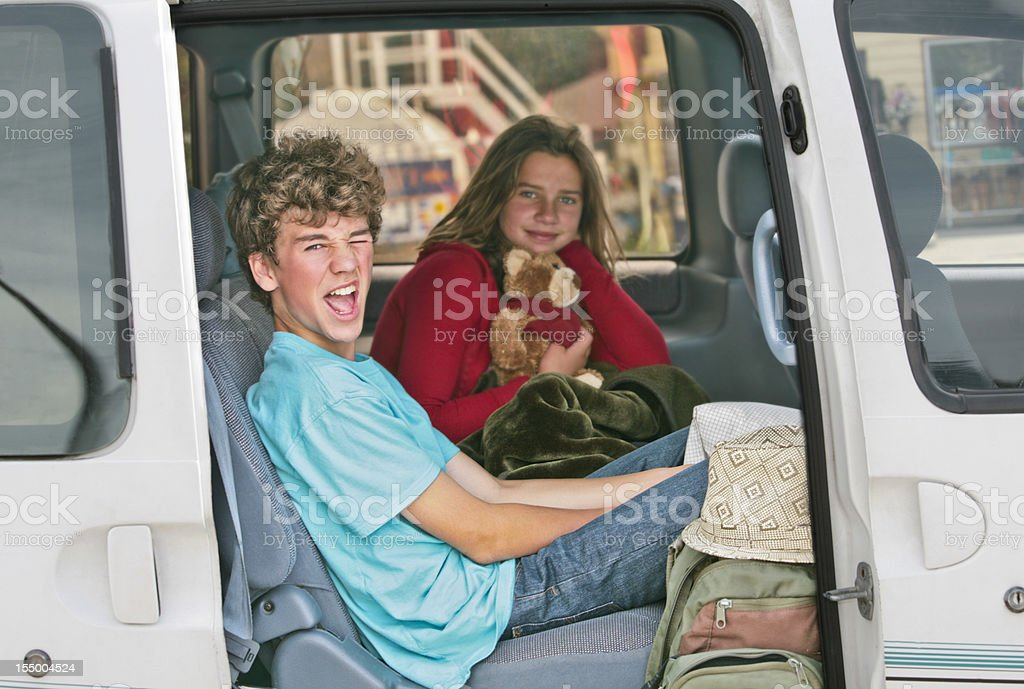 Brother and Sister  in Car on Vacation royalty-free stock photo
