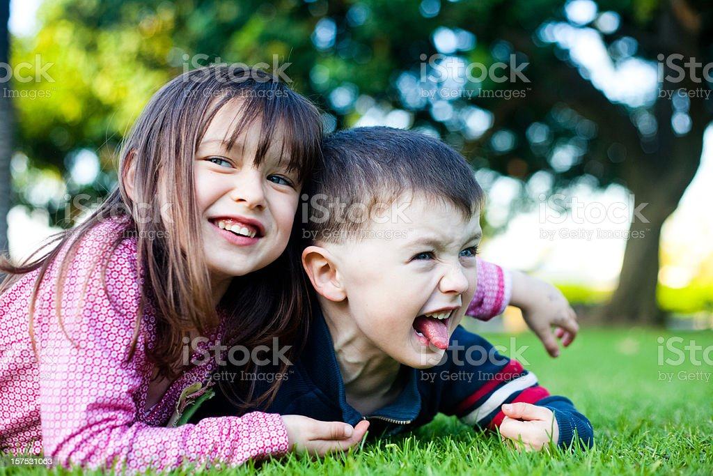 Brother and Sister in Field royalty-free stock photo