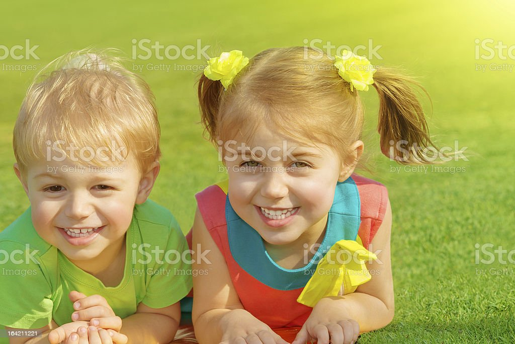 Brother and sister in park royalty-free stock photo