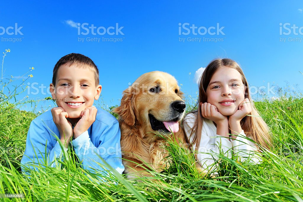 Brother and sister lying on the meadow with dog. royalty-free stock photo
