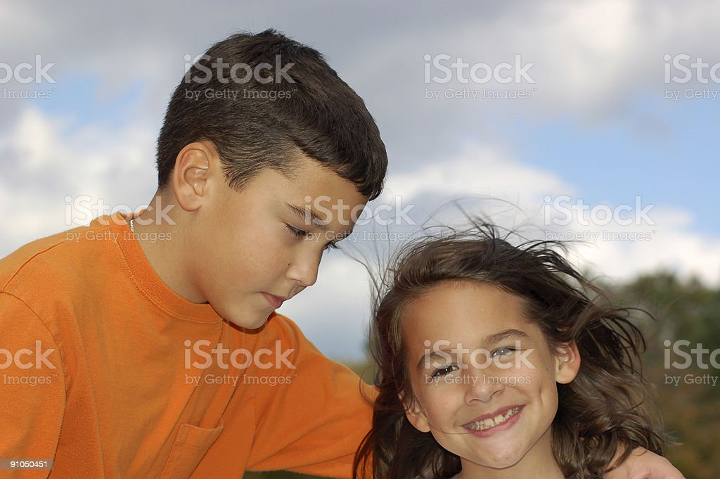 Brother and sister moment stock photo