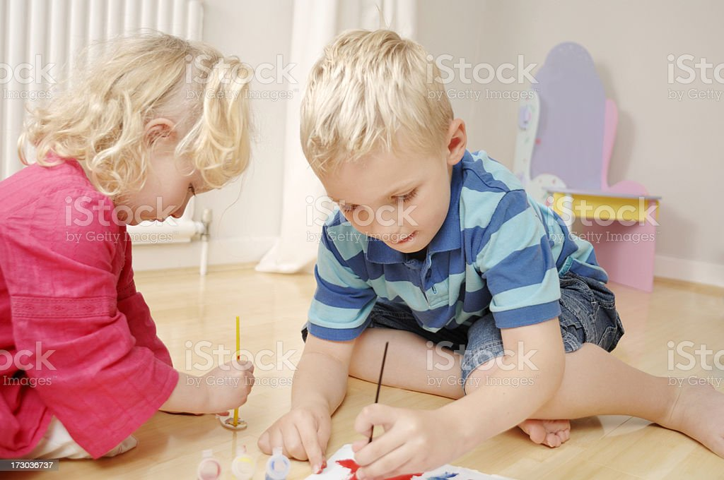 brother and sister painting royalty-free stock photo