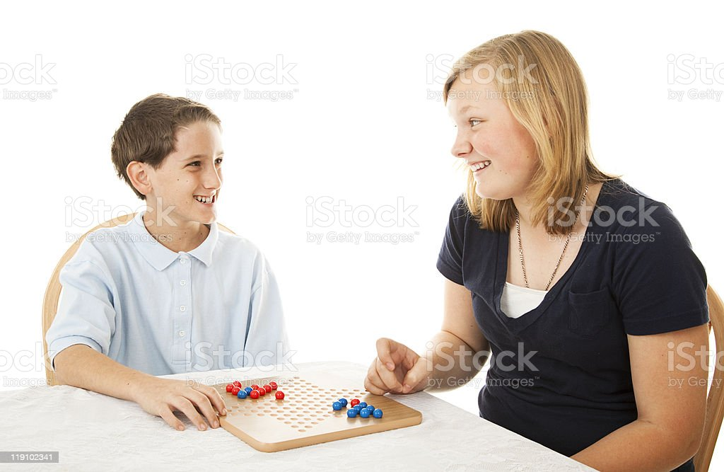 Brother and Sister Play Together royalty-free stock photo