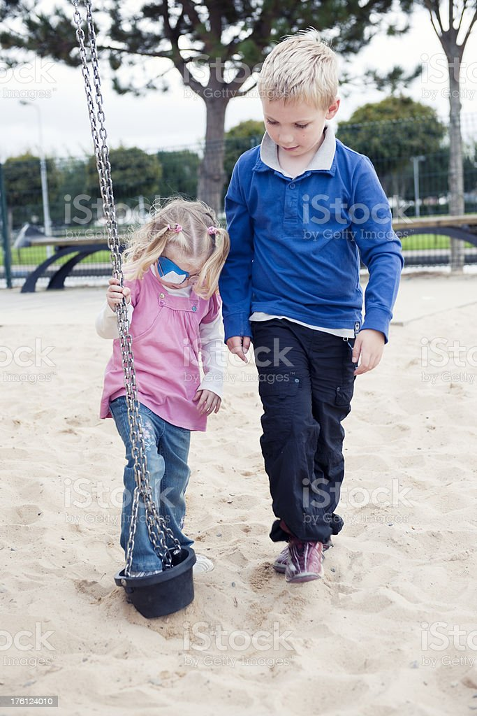 brother and sister playing together royalty-free stock photo