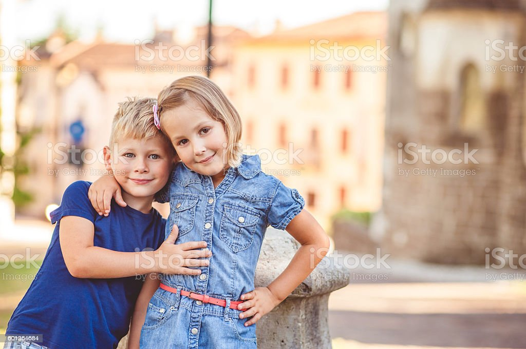 Brother And Sister Portrait stock photo